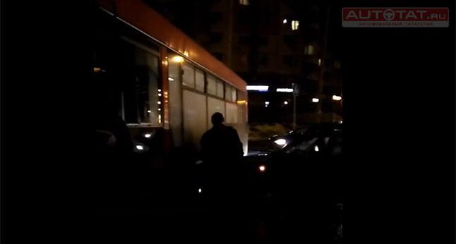 ВКазани столкнулись 4 машины иавтобус