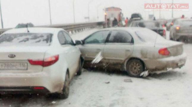 Семь человек пострадали из-за столкновения легковушки смикроавтобусом под Казанью